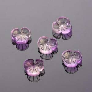 10pcs 12mm Petal Flower Crystal Glass Loose Pendant Craft Beads Jewellery Making