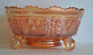 Vintage 1920's 3-footed FENTON Carnival Glass Bowl BUTTERFLY & BERRY Marigold