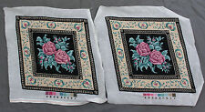 Pair Matching Finished Handmade Needlepoint Tapestry Roses Flowers Pillow Chair