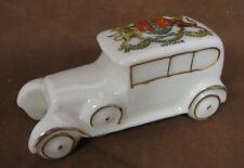 "Victoria China Crested Ware WWI Vintage Miniature Car,  3 1/2"" Long, Hoylake"