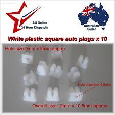 9 x 8mm Square Plastic Plug Fastener Rivets x 10 auto mud guard panel clip plugs