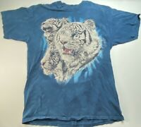 The Mountain Unisex Graphic T-Shirt Blue Tiger Crew Neck 100% Cotton 2XL