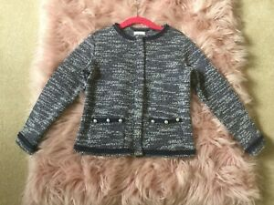 Next girls smart navy and white twill jacket Chanel coat style 5 years