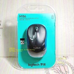Original Logitech M186 USB Wireless Mouse with USB Nano Receiver (blue)