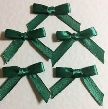 20 Pretty Forest Green 6mm Ribbon bows - card making/scrap booking -UK seller