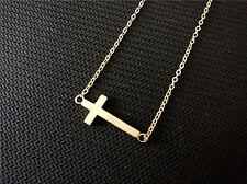 Stainless Steel Horizontal Sideways Cross Pendant Womens Necklace Jewelry +Box