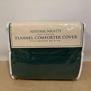 """Natural Nights Flannel Comforter Cover Full/ Queen Green 86""""x 86"""""""