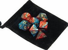 New Chessex Polyhedral Dice Set with Bag Red Teal Gemini 7 Piece Set DnD RPG