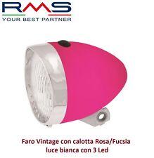 Faro/Fanale Anteriore Vintage calotta Rosa 3 Led per Bici 26-28 R Viaggio bac