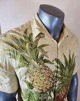 Cubavera Men's Button Front Short Sleeve Shirt Floral Hawaiian Pineapple XL