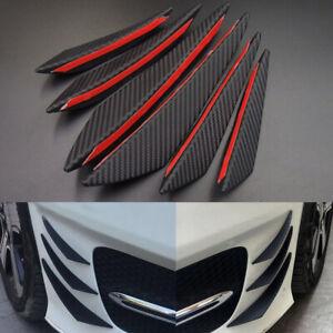 6x Car Auto Carbon Fiber Front Bumper Fins Spoiler Canards Refit Accessories df