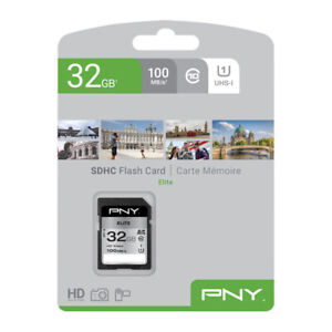 PNY Elite 32GB SDHC Memory Card, UHS-I, Class 10, 100MB/s for Digital Cameras