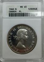 :1960 S1$ DOLLAR ELIZABETH-II LOW-POP CANADA KM#54 ANACS MS-65 HIGHEST-GRADES