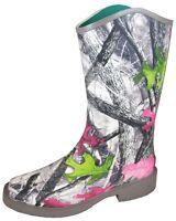 Smoky Mountain Pink Lime CAMO Rubber Rain Barn Farm Muck Boots 5 6 7 8 9 10 11