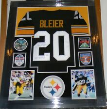 ROCKY BLEIER SIGNED JERSEY FRAMED SUEDE MATTED 4X SB PATCHES JSA COA STEELERS