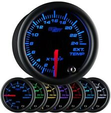 52mm GLOWSHIFT BLACK 7 COLOR PYROMETER PYRO EGT GAUGE KIT w PROBE GS-C708