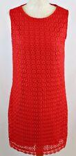 RED HERRING Broderie Anglaise Sleeveless Shift Dress UK 12 Coral Knee Summer