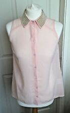 Ladies Lipsy Light Pink See Through Blouse Beaded Collar Long Back Size 8 B40
