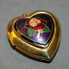 Locket Stained Glass Rose Pendant New listing Vintage Estate Chunky Gold Tone