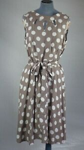 Wallis Taupe Mocha Polka Dot Spot Elegant Fit & Flare Dress Cut Out Detail UK 14