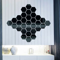 12Pcs Wall Stickers Mirror Hexagon Removable Waterproof Decal Home Room Decor