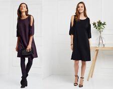 The White Company Split Sleeve Swing Dress 8 10 16 Black & Blackberry RP £98 NWT