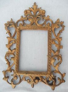Antique Fancy EASEL BACK Cast Iron Dressertop Photo or Mirror Picture Frame Gold