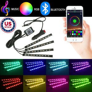 4x9 LED RGB Car Interior Floor Atmosphere Light Strip Bluetooth APP Control Lamp