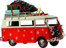 More details for large 25cm christmas red camper van model metal ornament
