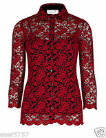 NEW Ex Per Una Ladies Red Black Lace Floral Blouse Top Party Size 10- 24 2 Piece