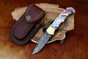 MH KNIVES CUSTOM DAMASCUS STEEL FOLDING/POCKET BUFFALO HORN LINER LOCK MH-11F