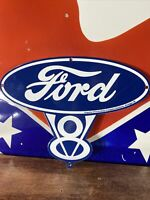 39 VINTAGE STYLE ''FORD V- 8'' GAS & OIL PUMP PLATE 12X6 INCH PORCELAIN SIGN