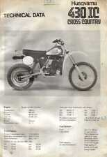 20704s Husqvarna 430 XC Cross Country Specifications & Technical Data Sheet 1981