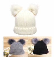 Warm Women's Winter Outdoor Chunky Knit with Double Fur Pom Pom Cute Beanie Hat