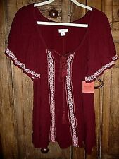 NEW Mossimo~ PLUS SIZE XXL 2X Flowing BOHO HIPPIE Burgundy Short Sleeve Tunic