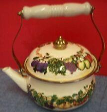 Vintage Enamel Steel Stove Top Kettle Fruit Tabletops Unlimited Ceramic Handle
