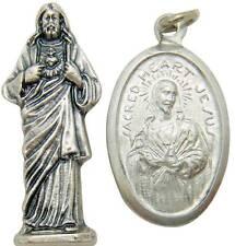 "MRT Sacred Heart Jesus Pocket Statue & Medal Catholic Gift Set Metal 1"" Italy"