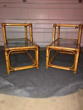 Vintage 2-Tier Bamboo Rattan End Table Glass Top - Mid Century Modern Set Of 2