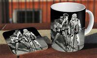 David Bowie And Mick Ronson Live Ceramic Coffee MUG + Wooden Coaster Set