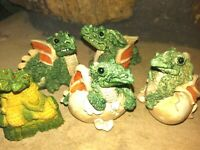 STONE CRITTER LITTLES DRAGONS, HATCHLINGS-THREE DIFFERENT, SET OF FIVE,NEW, MINT