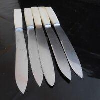 5 Cuchillos Sierra de Mesa Metal Inoxidable Baquelita Arte Deco Diseño Xx Pn