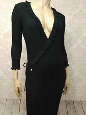 Vintage Sonia Rykiel Wrap Sweater Dress Womens S Black Maxi Wool Silk V Neck