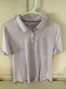Under Armour Heat Gear Fitted Golf Polo Shirt Light Purple Women's Sz XL