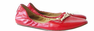 REPORT UK  PATENT GENUINE LEATHER FLATS BALLETS $250 WOMEN 8.5 6 39 RED