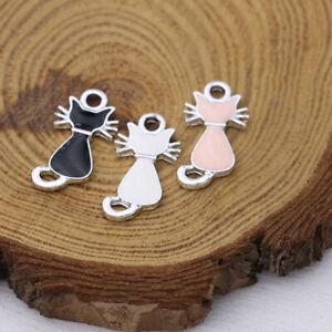 10PCS Silver Enamel Cat Charm Pendant Jewelry Making Earrings DIY Accessories