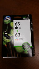 HP New in Box, Genuine, OEM HP 63 Black + 63 Tri-Color ink combo pack FAST ship