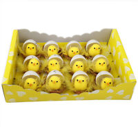 12Pcs Easter Chicks Yellow Fluffy Plush Mini Chicken Kids Eggs Decoration Decor