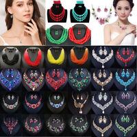 Fashion Women Boho Choker Chunk Crystal Statement Necklace Wedding Jewelry Set