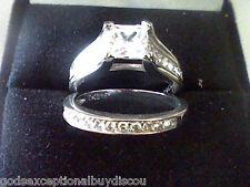 2 CT PRINCESS LCS* DIAMOND WEDDING ENGAGEMENT BAND RING  SET SZ 8 + GIFT