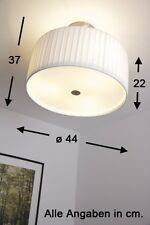 Lampadario nichel opaco tessuto bianco vetro satinato Plafoniera Nuovo 45551